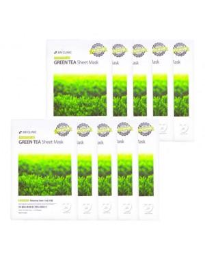 3W Clinic - Masque en feuille essentielle de thé vert - 1 paquet (10pcs)