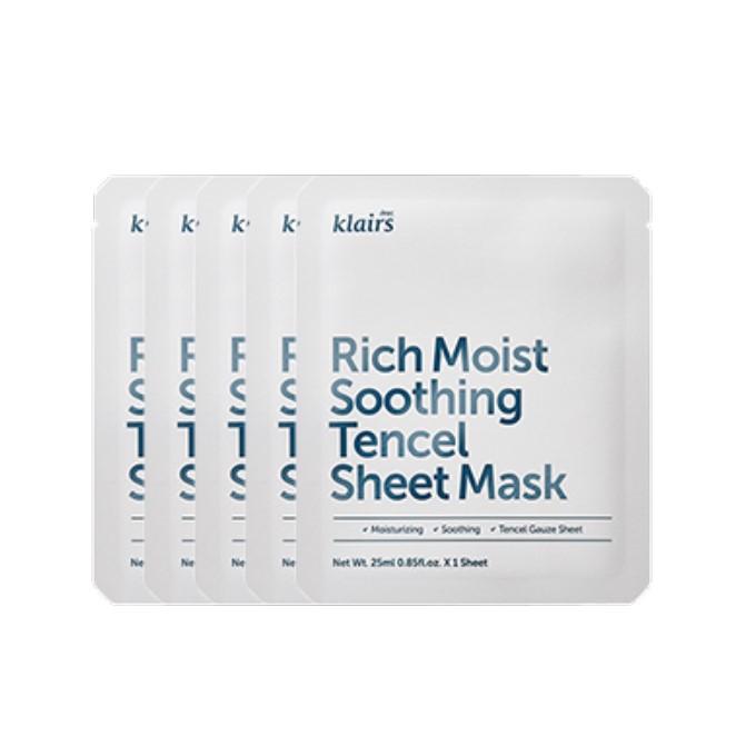 Dear Klairs - Rich Moist Soothing Tencel Sheet Mask -5pc